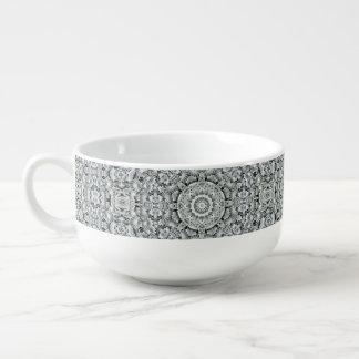 White Leaf Pattern Soup Mug