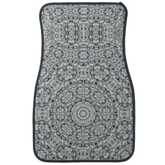 White Leaf Pattern   Vintage  Car Floor Mats Front