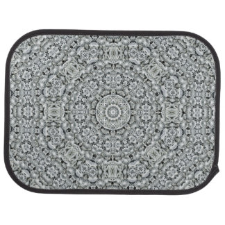 White Leaf Pattern   Vintage  Car Floor Mats rear