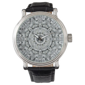 White Leaf Pattern Vintage Mens Watch