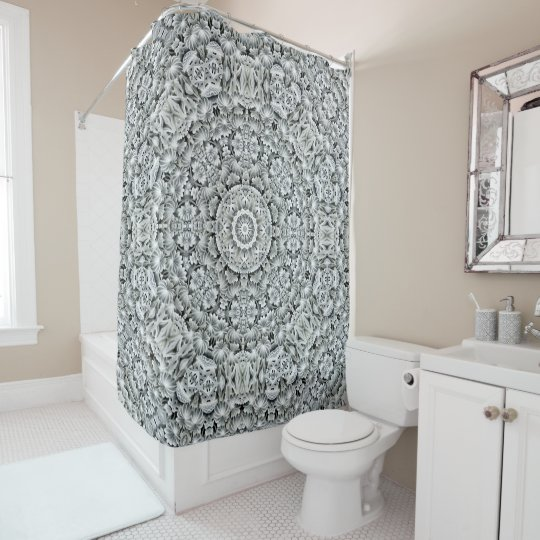 White Leaf Pattern  Vintage  Shower Curtain