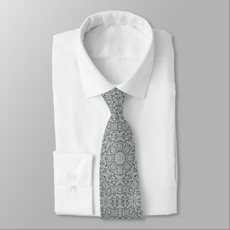 White Leaf  Tiled Pattern Tie