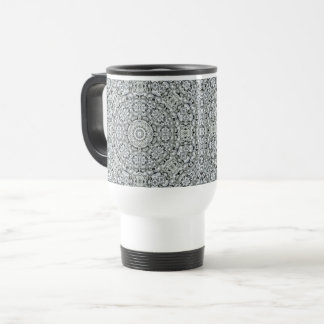 White Leaf Vintage Kaleidoscope  Travel Mug