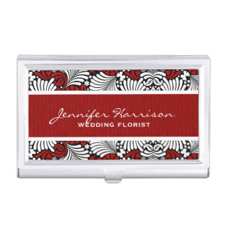 White Leafy Print with Red and Black Business Card Holder