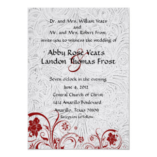 White Leather and Red Lace Wedding Invitations