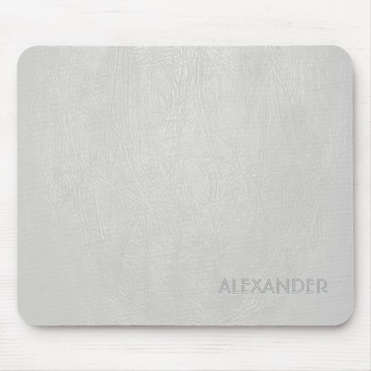 White Leather Pattern Texture- Custom Monogram/Tex Mouse Pad