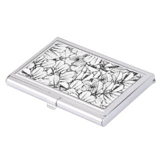 White Leaves Business Card Holder