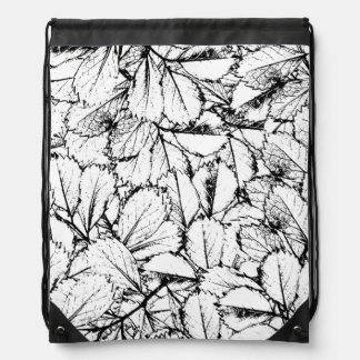 White Leaves Drawstring Bag