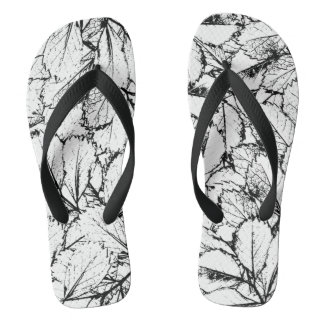 White Leaves Flip Flops
