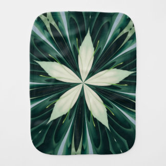 White Leaves In A Green Forest Kaleidoscope Burp Cloth