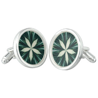 White Leaves In A Green Forest Kaleidoscope Cufflinks