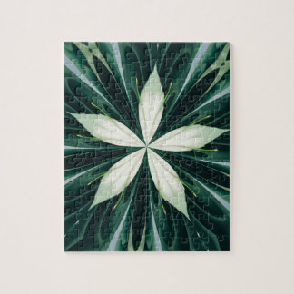 White Leaves In A Green Forest Kaleidoscope Jigsaw Puzzle