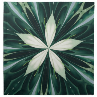 White Leaves In A Green Forest Kaleidoscope Napkin
