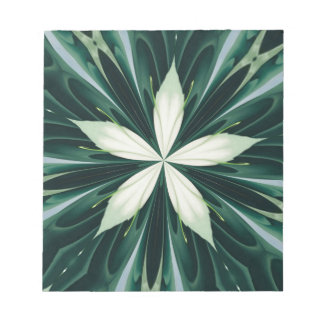 White Leaves In A Green Forest Kaleidoscope Notepad