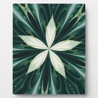 White Leaves In A Green Forest Kaleidoscope Plaque
