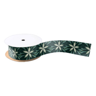 White Leaves In A Green Forest Kaleidoscope Satin Ribbon