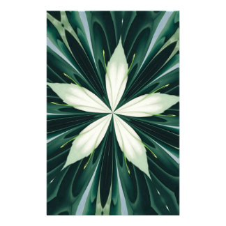 White Leaves In A Green Forest Kaleidoscope Stationery