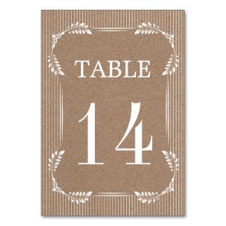 White leaves, kraft paper wedding table number