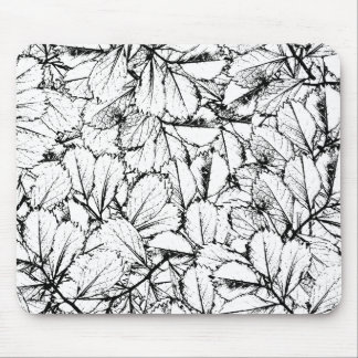 White Leaves Mouse Pad