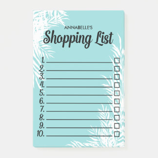 White Leaves Numbered Checkbox Shopping List Post-it Notes