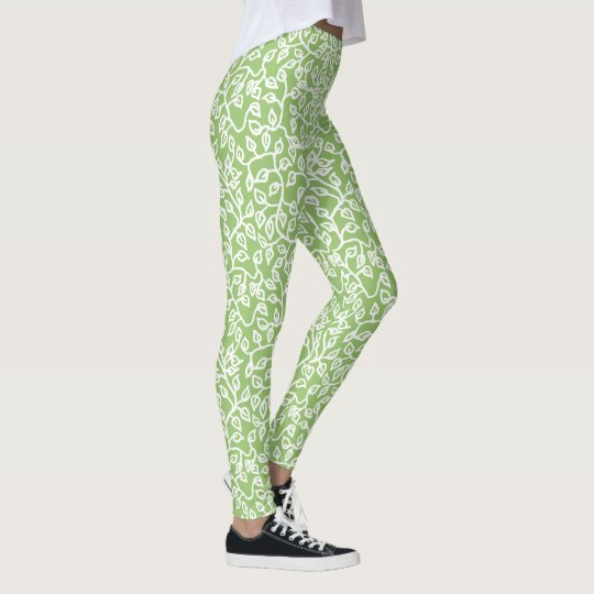 White Leaves Pattern on Apple Green to Customize Leggings