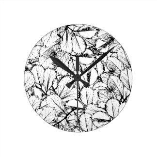 White Leaves Round Clock
