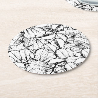 White Leaves Round Paper Coaster