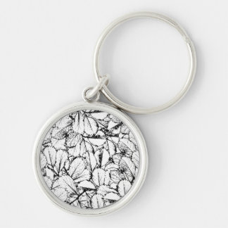 White Leaves Silver-Colored Round Keychain