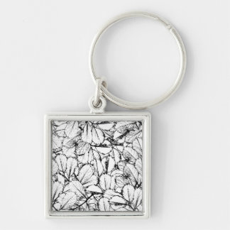 White Leaves Silver-Colored Square Keychain