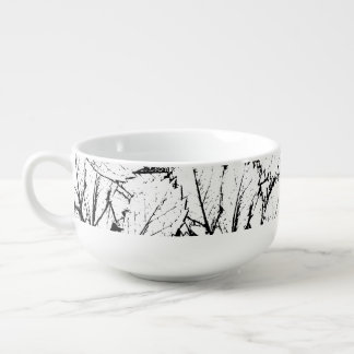 White Leaves Soup Mug