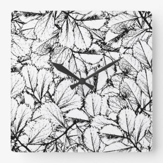 White Leaves Square Wall Clock