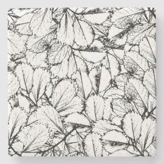 White Leaves Stone Coaster