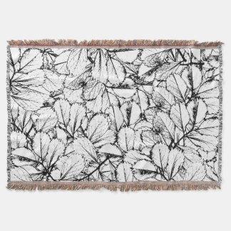 White Leaves Throw Blanket