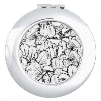 White Leaves Travel Mirror