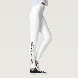 White Leggings with Logo on Lower Leg
