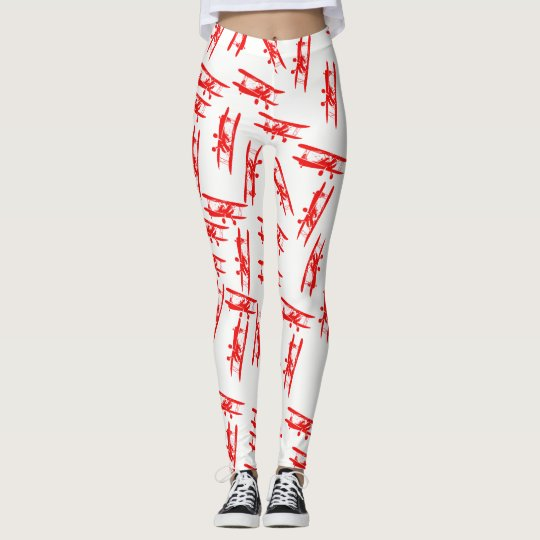 White Leggings with vintage aeroplane decoration