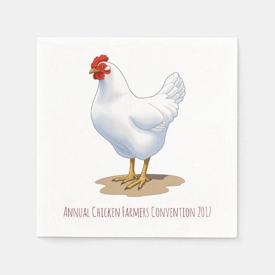White Leghorn Chicken Hen Disposable Napkins