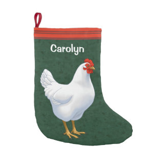 White Leghorn Chicken Hen Small Christmas Stocking