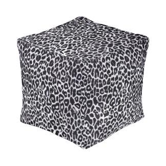 White Leopard Animal Print Pouf Cube Pouf