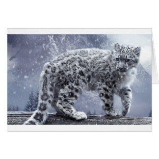 White Leopard On A Branch Card