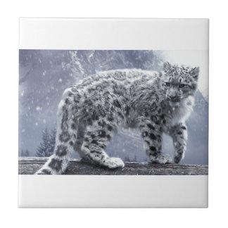 White Leopard On A Branch Ceramic Tiles