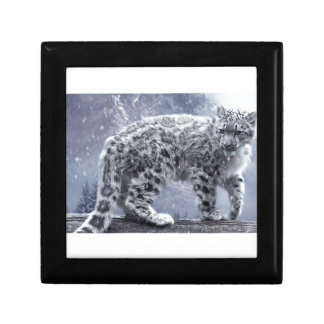 White Leopard On A Branch Jewelry Box