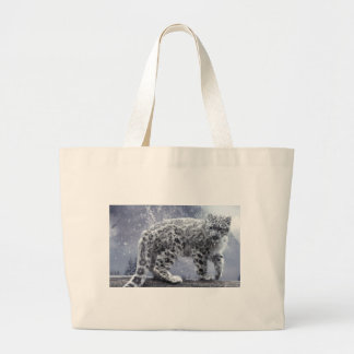 White Leopard On A Branch Large Tote Bag