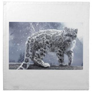 White Leopard On A Branch Napkin