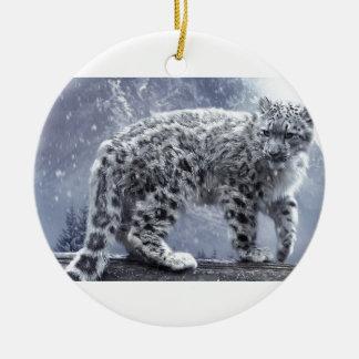 White Leopard On A Branch Round Ceramic Ornament