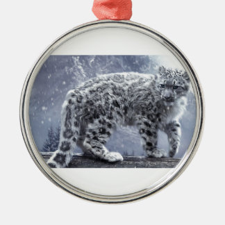 White Leopard On A Branch Silver-Colored Round Ornament