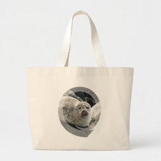 White Leopard Seal Canvas Tote Bag