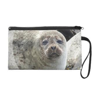 White Leopard Seal Wristlet