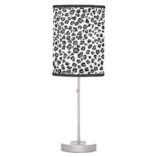 White leopard table lamp