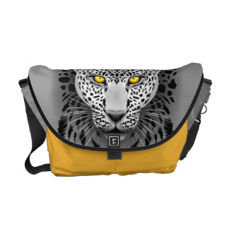 White Leopard with Yellow Eyes Commuter Bags